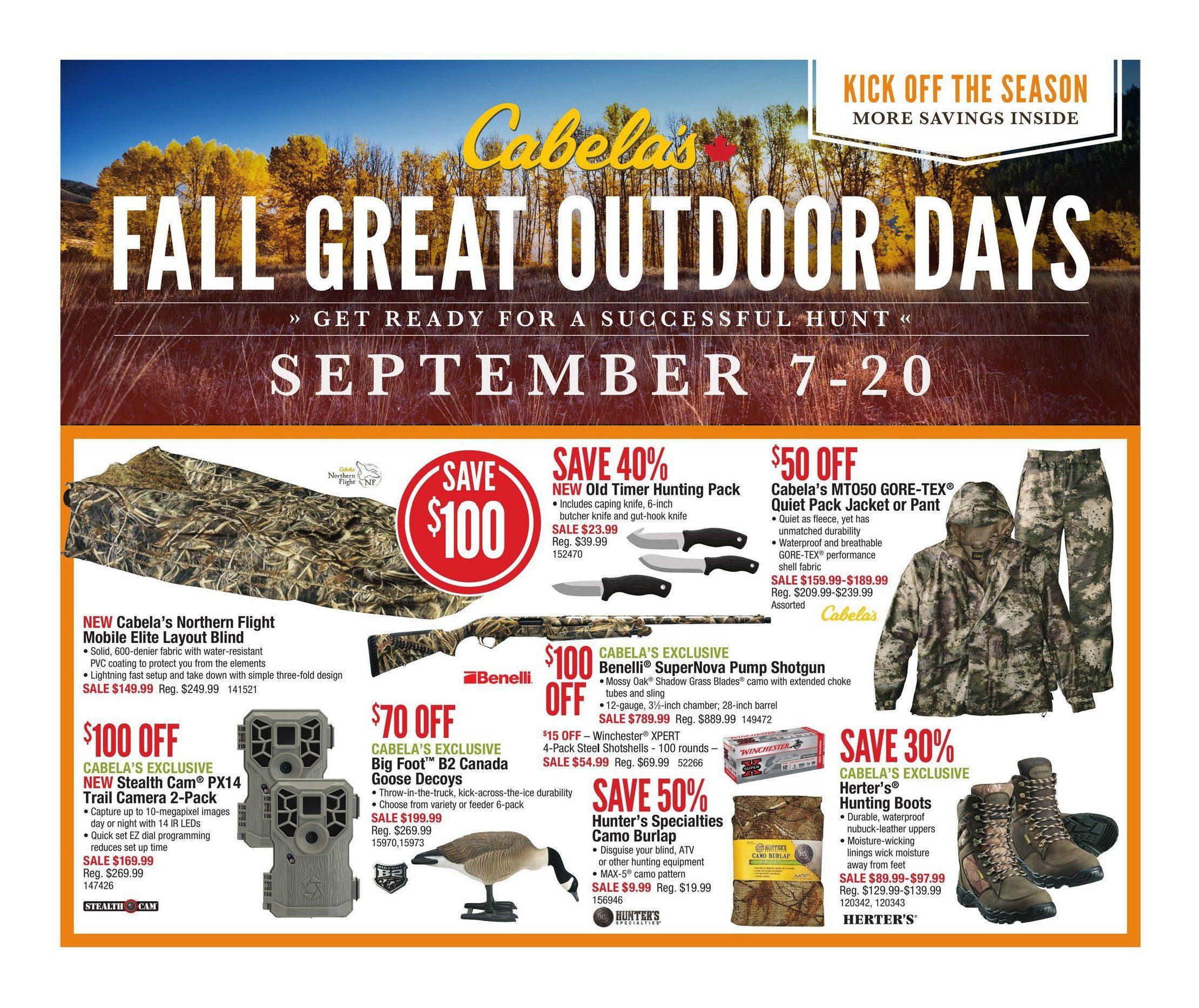 dedb214224196 Cabelas Weekly Flyer - Fall Great Outdoor Days - Sep 7 – 20 -  RedFlagDeals.com