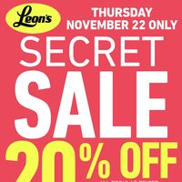 Leon's - 1 Day Only - Secret Sale Flyer
