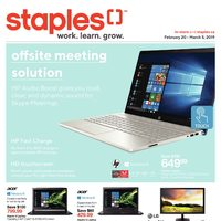 Staples - 2 Weeks of Savings - Work. Learn. Grow. Flyer