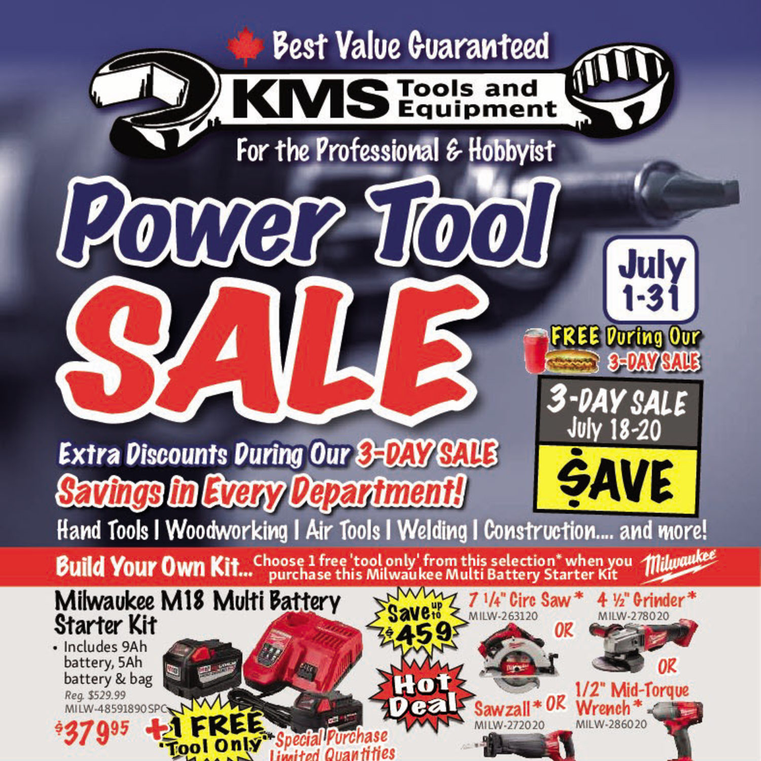 KMS Tools Weekly Flyer - Power Tool Sale - Jul 1 – 31 - RedFlagDeals com