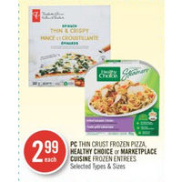 PC Thin Crust Pizza, Healthy Choice Or Marketplace Cuisine Entrees