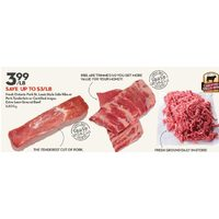 Fresh Ontario Pork St. Louis Style Side Ribs Or Pork Tenderloin Or Certified Angus Extra Lean Ground Beef