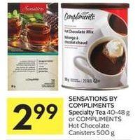 Sensations By Compliments Specialty Tea Or Compliments Hot Chocolate Canisters