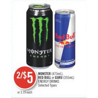 Monster, Red Bull Or Guru Energy Drinks