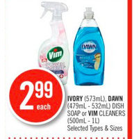 Ivory, Dawn Dish Soap Or Vim Cleaners