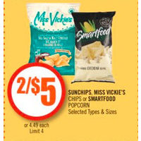 Sunchips, Miss Vickie's Chips Or Smartfood Popcorn