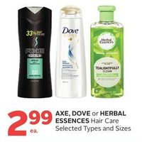 Axe, Dove Or Herbal Essences Hair Care