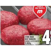Store Made Beef Burgers