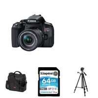 Canon EOS Rebel T8i Camera Body With 18-55mm F/4-5.6 IS STM Lens Kit, Mini Tripod, 64GB Memroy Card And Canon 800SR Medium Size DSLR And Accessory Bag