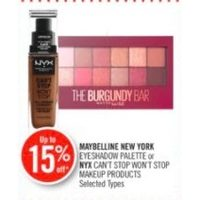 Maybelline New York Eyeshadow Palette Or NYX Can't Stop Won't Stop Makeup Products