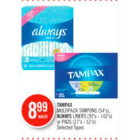 Tampax Multipack Tampons, Always Liners Or Pads