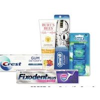 Crest Gum Detoxify, Gum & Sensitivity, Gum & Breath Purify or Burt's Bees Toothpaste Oral-B Pulsar or Manual Toothbrushes, Oral-B Twin Pack Floss or Fixodent