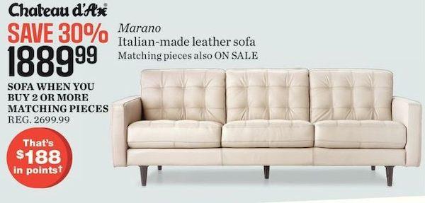 sears chateau d ax marano italian made leather sofa redflagdeals com rh redflagdeals com sears leather sectional sofa sears leather reclining sofa