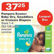 Pampers Econo+ Baby Dry, Swaddlers or Cruisers Diapers - $37.25