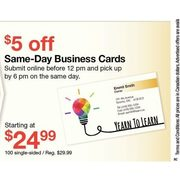 Same-Day Business Cards  - Starting at $24.99 ($5.00 off)