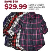 43365ec48ee041 The Bay Lord   Taylor Plaid Tops -  29.99 ( 49.00 off) Lord   Taylor Plaid  Tops