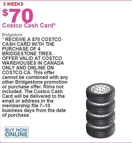 Costco: Bridgestone Tires - $70 00 Cash Card - RedFlagDeals com