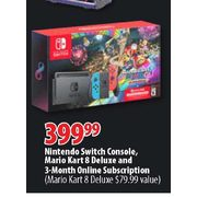 Nintendo Switch Console, Mario Kart 8 Deluxe And 3-Month Online Subscription - $399.99